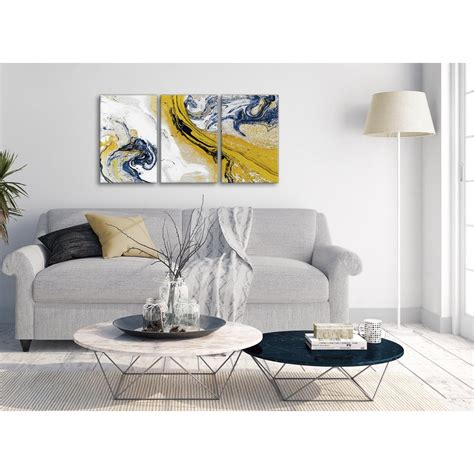 mustard yellow  blue swirl living room canvas pictures