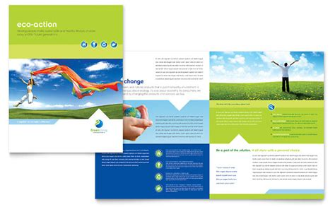 Free Brochure Templates For Pages by Green Living Recycling Brochure Template Design