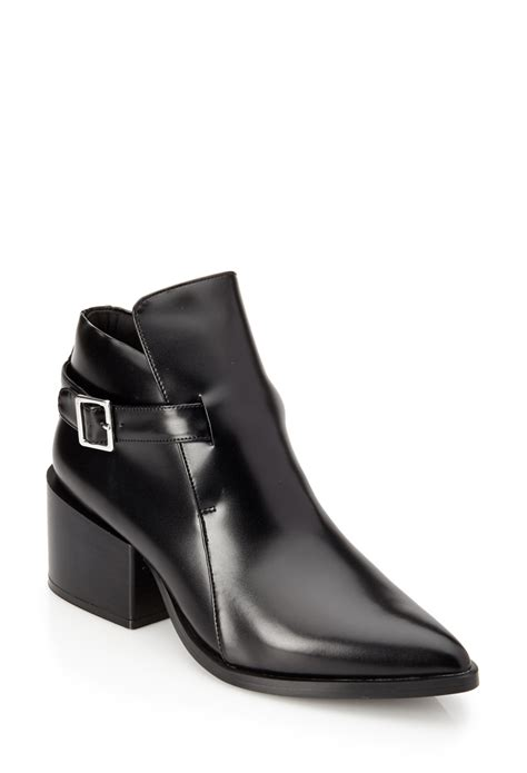 lyst   pointed faux leather booties  black
