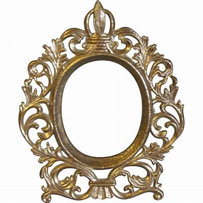 Oval Frame Gold Table Transparent Photograph Background