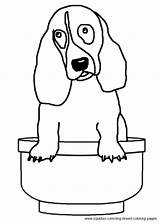 Coloring Hound Basset Dog Breed sketch template