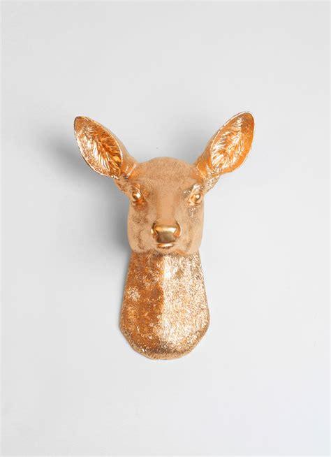 ophelia  gold faux doe deer head wall mount