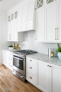 white shaker cabinets gold pulls design ideas With kitchen colors with white cabinets with candle holders gold