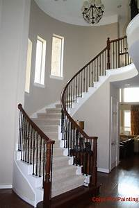 Very Light And Bright Entry With A Curved Staircase  Wood