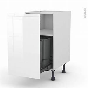 Meuble Poubelle Cuisine : meuble de cuisine poubelle coulissante ipoma blanc ~ Dallasstarsshop.com Idées de Décoration