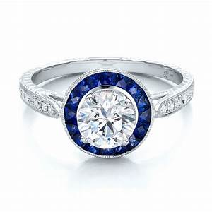 art deco style blue sapphire halo and diamond engagement ring With blue sapphire and diamond wedding rings
