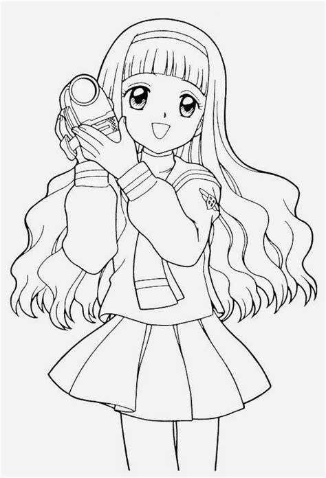 Anime girl coloring pages holding camera ColoringStar