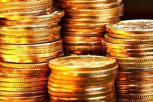 Stacks of the gold coins close up | Stock Photo | Colourbox