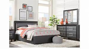 Columbus avenue black 7 pc queen upholstered bedroom for Bedroom furniture sets columbus ohio