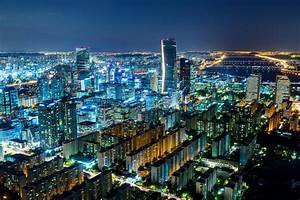 Seoul skyline at night stock photo. Image of home ...
