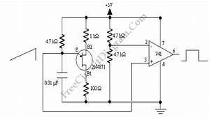 ujt relaxation oscillator with op amp squarer circuit With op amp diagram