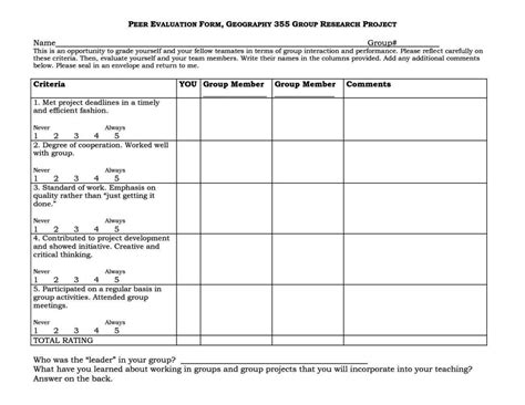 peer assessment template sampletemplatess sampletemplatess