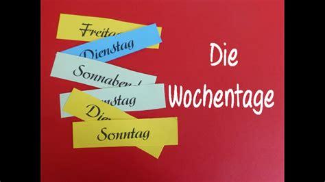 learn german die wochentage youtube