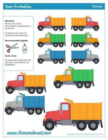 printable truck templates  kids