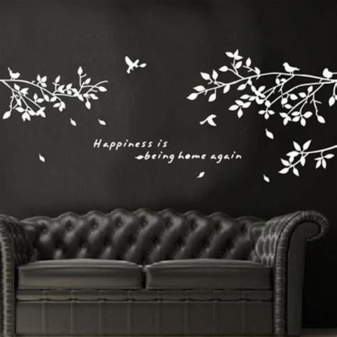 wall decoration stickers black removable tree branches birds vinyl wall sticker