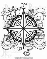 Compass Printable Pirate Drawing Immediate Coloring Down Lovesmag Stunning sketch template