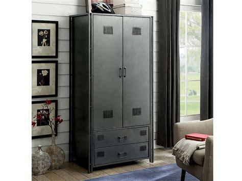 Wardrobe Cabinet Home Depot: Ziva Industrial Metal Armoire