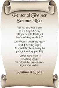 personal trainer personalised poem gift print amazonco
