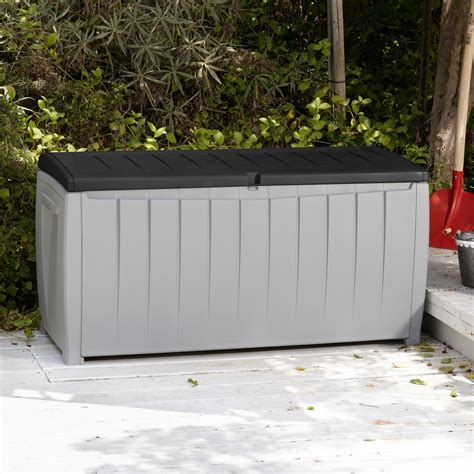 keter novel 90 gallon deck box outdoor benches at hayneedle