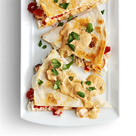 smoked salmon quesadillas  creamy chipotle sauce