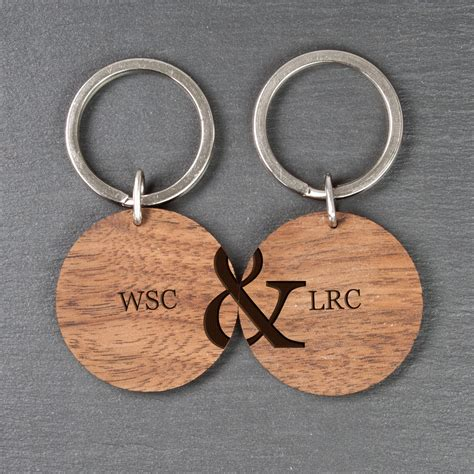 personalised couples set   wooden keyrings treat