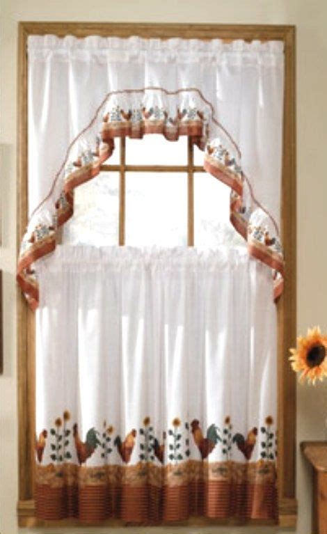 morning rooster sunflower  kitchen window curtains