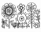 Coloring Flower Flowers Pages Printable Colour sketch template