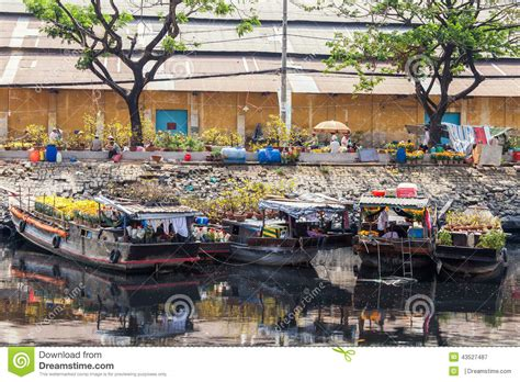 Flower Boats At Flowers Market On Binh Wharf At Saigon