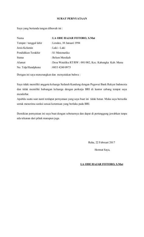 contoh surat pernyataan tidak memiliki hubungan