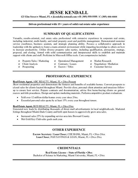 Real Estate Resume Templates by Real Estate Resume Exle Tammys Resume Sales