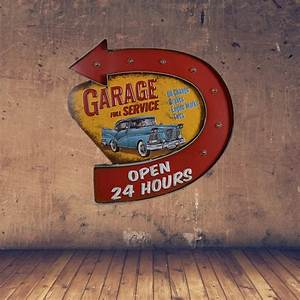 Retro Garage Full Service Led Metal Sign Open 24 Hours