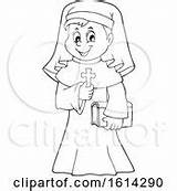 Nun Coloring Pages Royalty Lineart Holding Cross Happy Clipart Clip sketch template