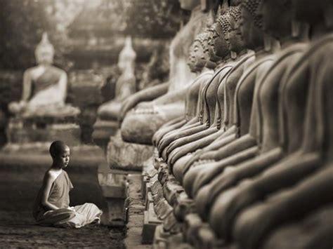young buddhist monk praying thailand sepia fine art