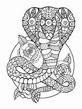 Snake Coloring Cobra Pages Adults Zentangle Drawing Adult Tattoo Printable Vector Illustration Stencil Mandala Colouring Curve Mycoloring Immagini Doodle Draw sketch template