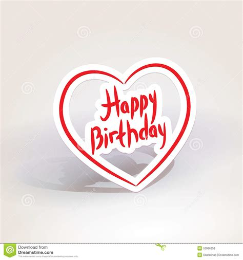 Happy Birthday Red Paper Heart On White Background