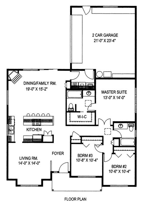 Ranch Style House Plan Number 85274 with 3 Bed 2 Bath 2