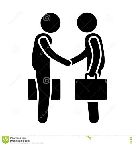 pictogramme bureau business mans handshake greetings gesture stick stock