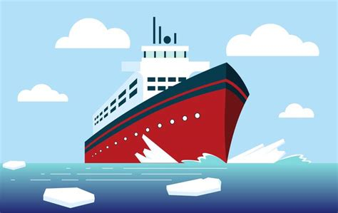 Ship Illustration by Vector Icebreaker Ship Illustration Download Free Vector