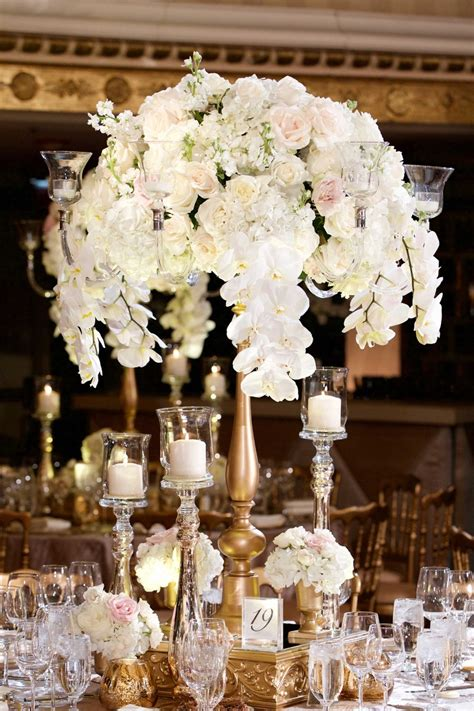 Reception Decor Photos Tall Gold Centerpiece With