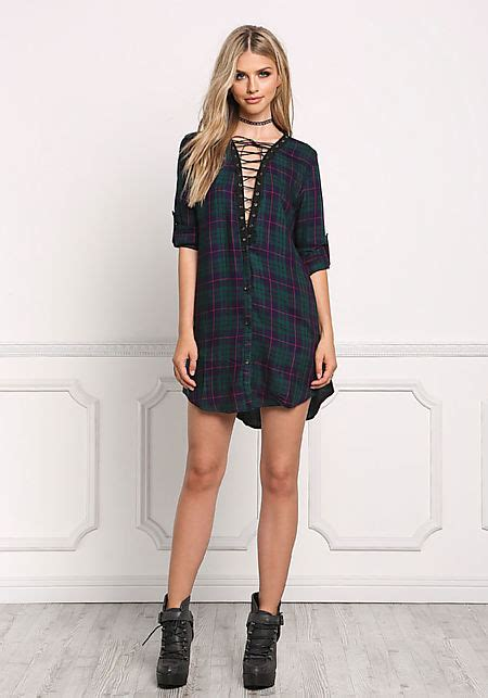 wash and wear hair styles junior clothing green plaid lace up tunic dress 2253