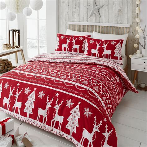 Happy Linen Co Festive Scandi Nordic Christmas Duvet Quilt