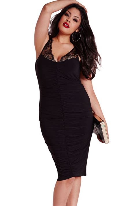 Women Black Slinky Lace Ruched Plus Size Clubwear Online