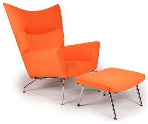 kardiel modern wing chair and ottoman orange