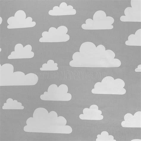 Farg Form Fabric Clouds By The Metre / Grey & White