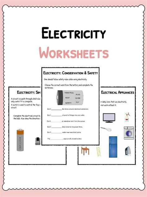 electricity worksheets electricity current appliances
