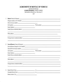 Car Rental Lease Agreement Form
