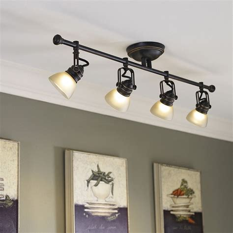 lowes kitchen track lighting shop allen roth tucana 4 light oil rubbed bronze