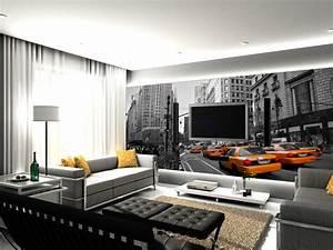 Papier Peint Moderne Salon : model tapisserie pour salon familian ~ Melissatoandfro.com Idées de Décoration