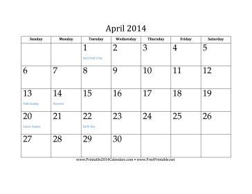 Printable April 2014 Calendar