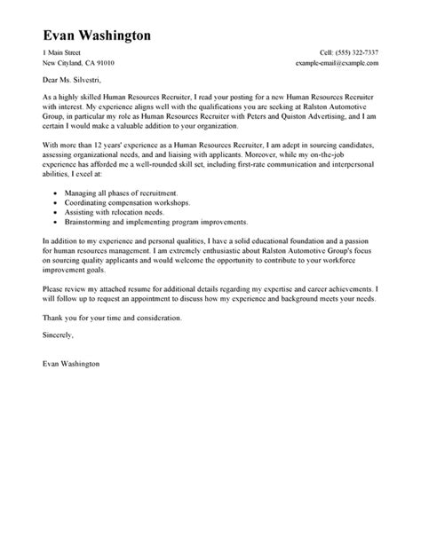 recruiting  employment cover letter examples